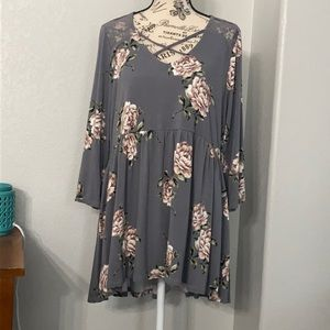 Torrid Super Soft Knits Floral 3/4 Sleeve